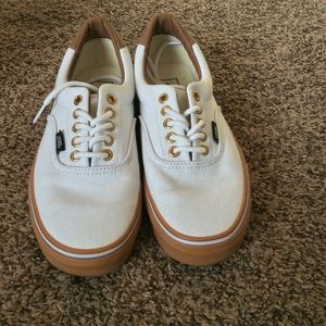 White Vans Gold Eyelits Brown Gum